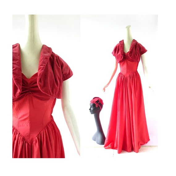 1940s Red Dress | Taffeta Gown | 1940s Dress Set |