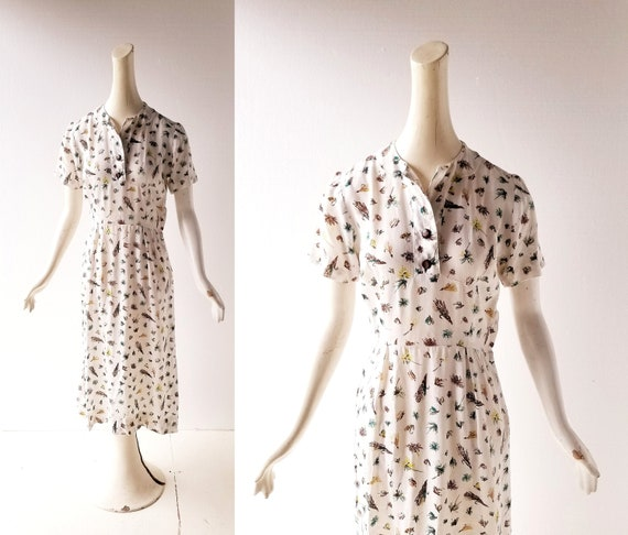 Vintage 30s Dress | Fly Fishing | 1930s Dress | XS