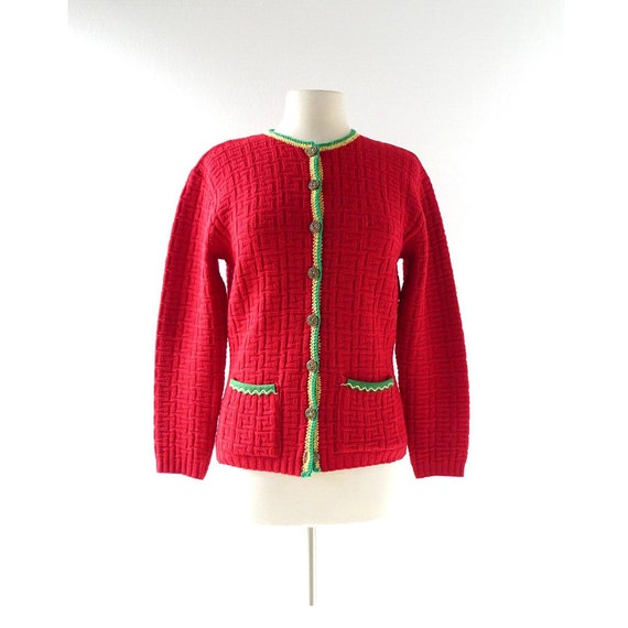Vintage 40s Cardigan | Red Wool Sweater | 1940s Ca