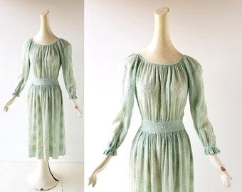 Vintage 1930s Dress | Spider Mum | Mint Green Dress | 30s Dress | XS