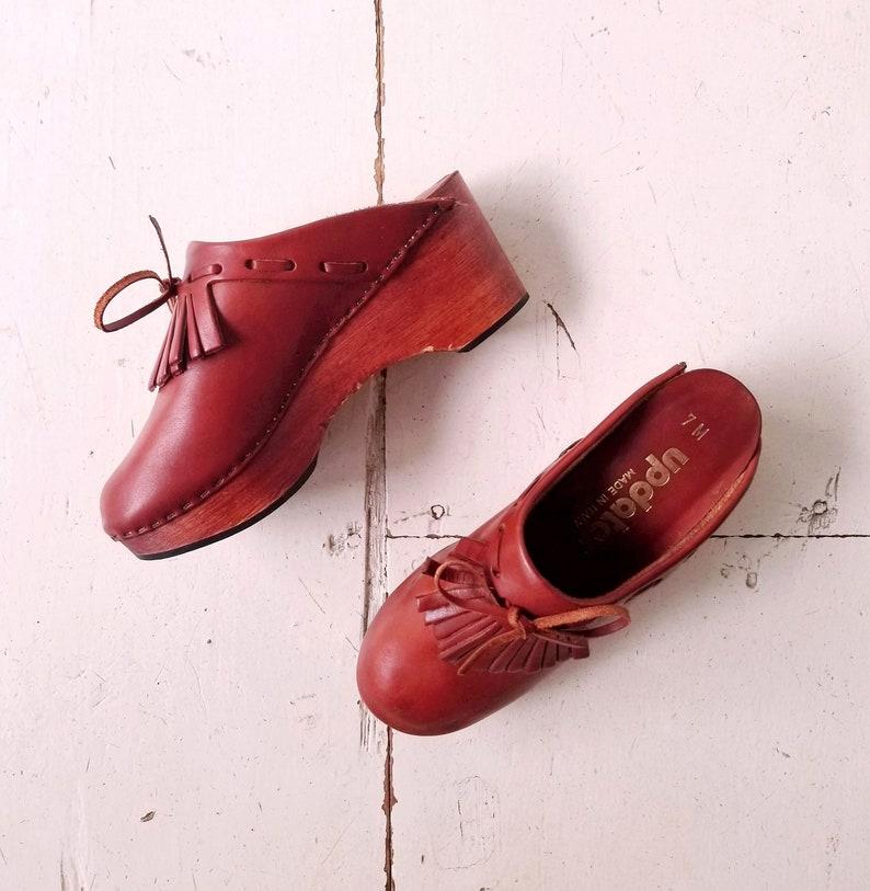 Vintage 1970s Clogs  Wood Clogs  Leather Clogs  Size 7 image 0