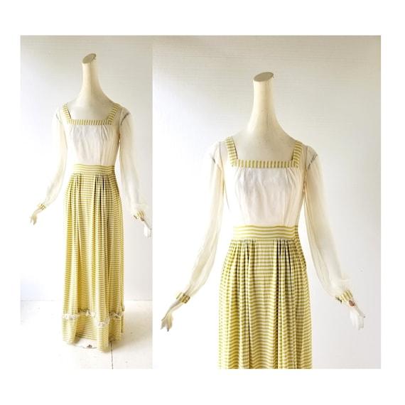 Vintage 1940s Dress | Chartreuse Striped Dress | 4