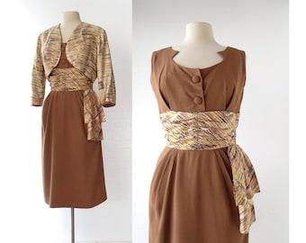 Vintage 1950s Dress | Queen Bee | 50s Dress with Jacket | Medium M