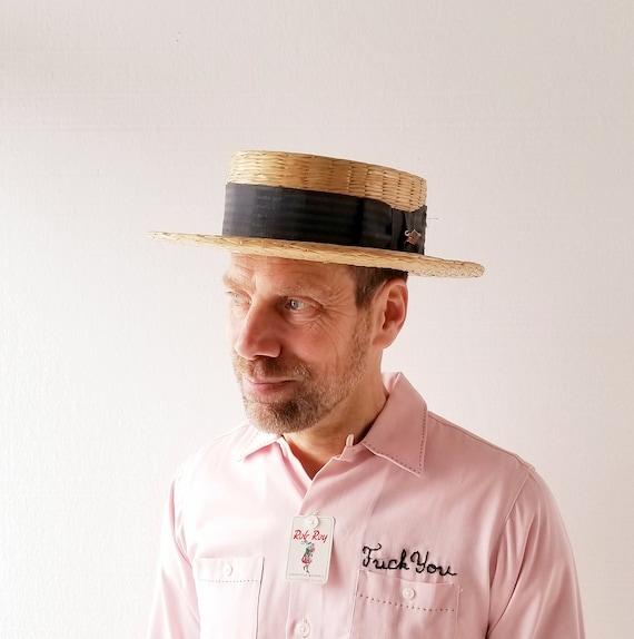 1930s Straw Hat   Straw Boater Hat   30s Hat   Siz