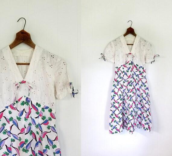 Vintage 1940s Dress | Radish Print Dress | 40s Dre
