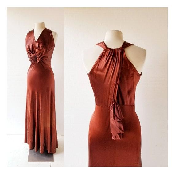 1930s Satin Dress | Liquid Satin Dress | 30s Gown