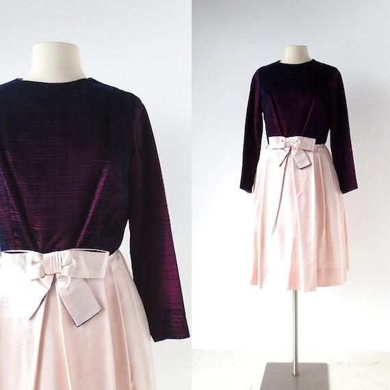 60s Party Dress   Purple Velvet Dress   1960s Dres