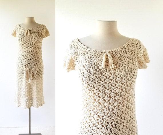 1930s Crochet Dress | Two Piece Dress | 30s Skirt