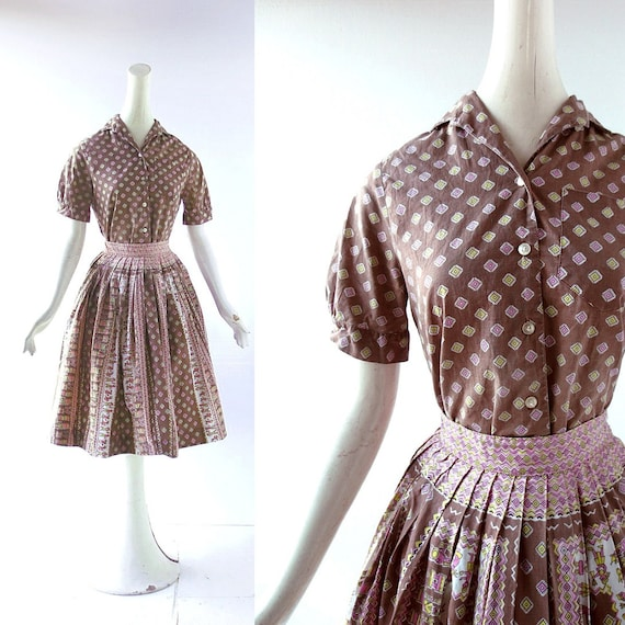 1950s Aztec Temple Novelty Print Blouse and Skirt