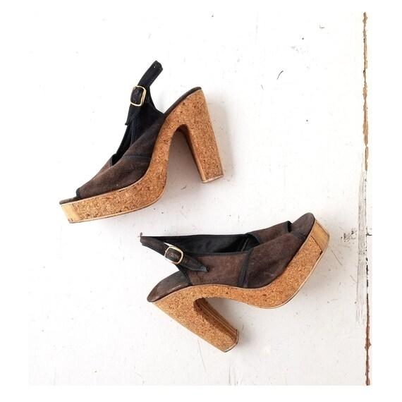 1970s Platform Shoes | Cork Heels | 70s Platform H
