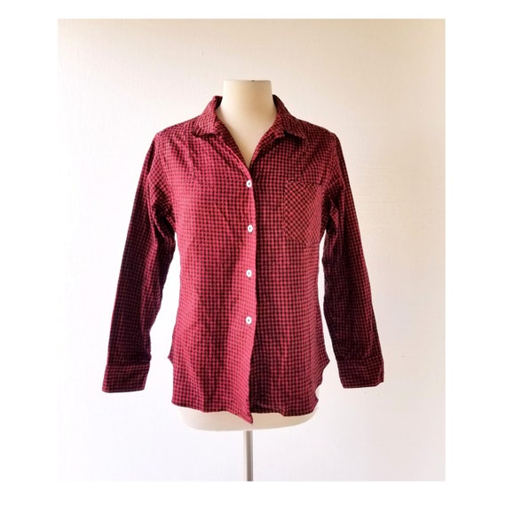 1950s Flannel Shirt | Houndstooth Blouse | Red Fla