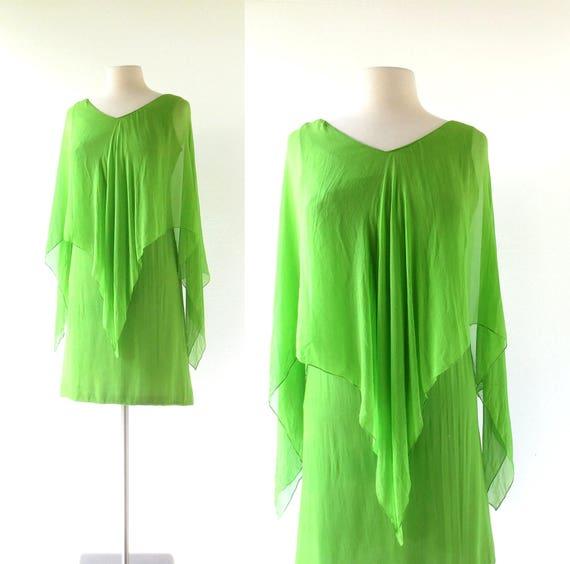 60s Chiffon Dress | Katydid Green | 1960s Cocktail