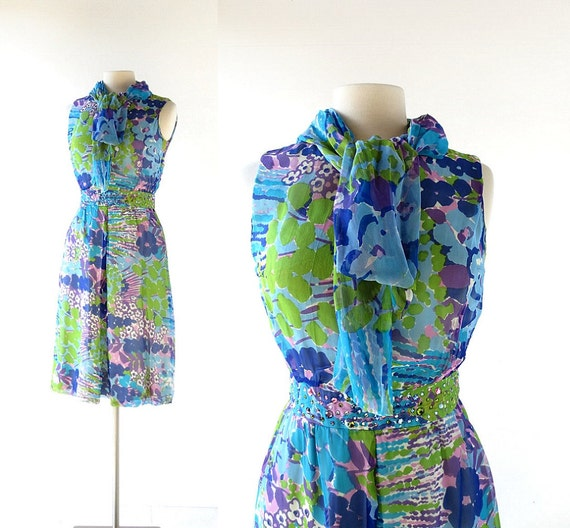 1960s Cocktail Dress | Floral Chiffon Dress | Abe