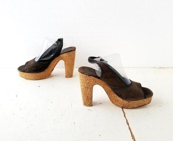 1970s Platform Shoes | Cork Heels | 70s Platform … - image 3