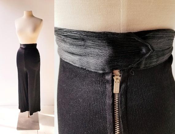 Vintage 1940s Pants | Black Satin Pants | 40s Pant