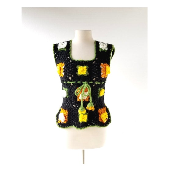 Granny Square Top | 70s Top | Afghan Vest | XS
