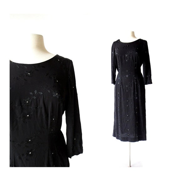 1940s Black Dress | Night Blooms | 40s Dress | Lar