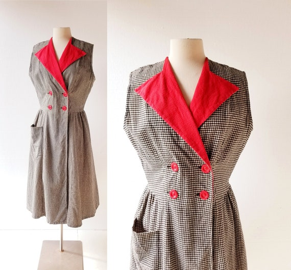 1950s Wrap Dress | Houndstooth Dress | 50s Dress |