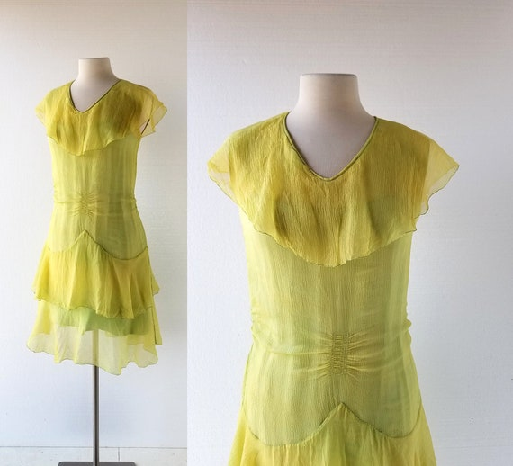 Vintage 20s Dress | Chartreuse Dress | 1920s Dress