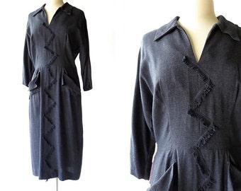 Vintage 1940s Dress / Woman on the Verge / 40s Dress / Deadstock Dress / L XL