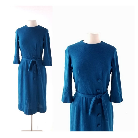 60s Knit Dress | Petrol Blue | L'Aiglon Dress | Sm