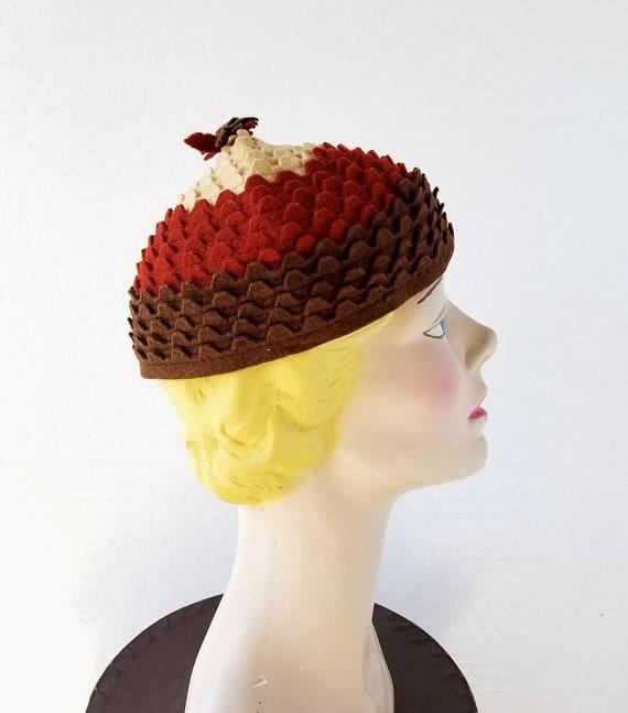 Vintage 1930s Hat | Acorn Hat | Felt Hat