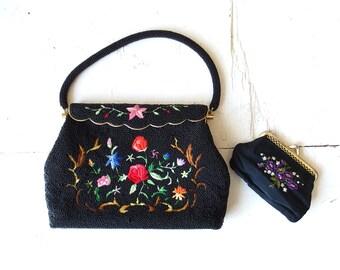 Vintage Beaded Purse / 60s Handbag / Floral Bag / 1960s Purse / Black Beaded Purse