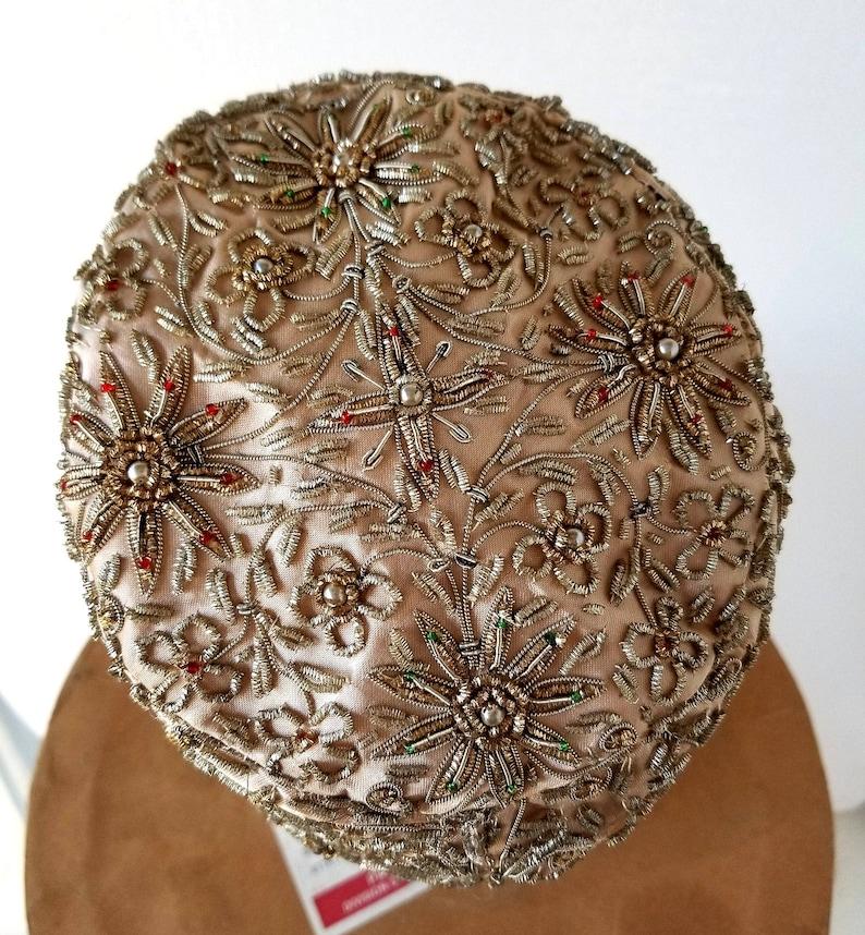 Beaded Hat Vintage Pillbox Hat 1960s Hat
