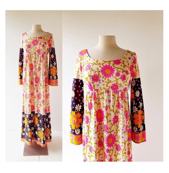 70s Floral Maxi Dress | Juliet's Garden | 1970s Dr