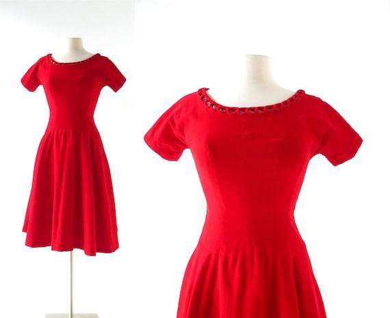 1950s Velvet Dress | Red Velvet Dress | 50s Dress