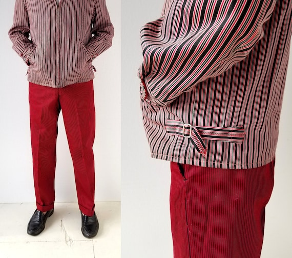 Vintage 1950s Pants | Red Striped Pants | 50s Dead