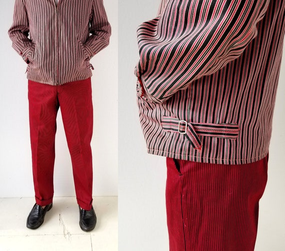 Vintage 1950s Pants | Red Striped Pants | 50s Pant