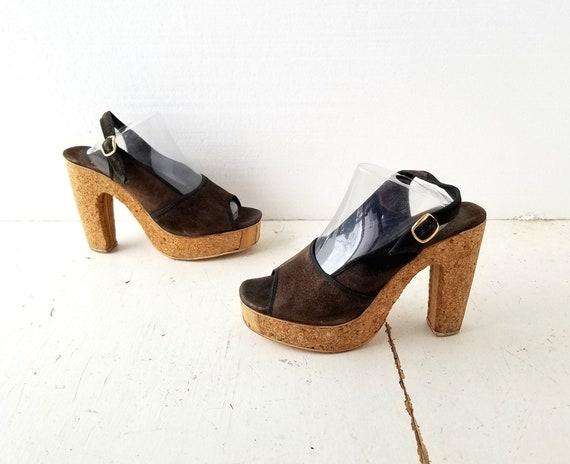1970s Platform Shoes | Cork Heels | 70s Platform … - image 2