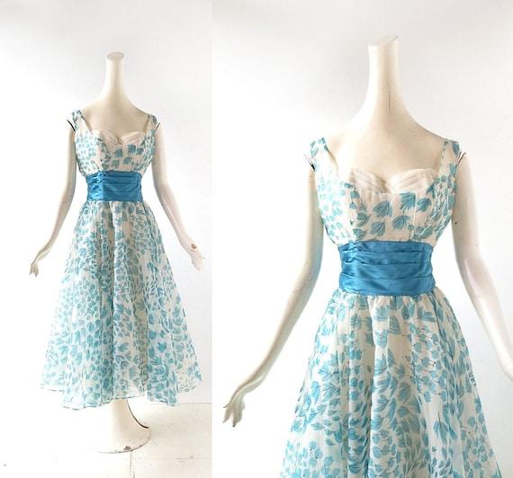 1950s Party Dress | Leaf Swirl | 50s Dress | Fred