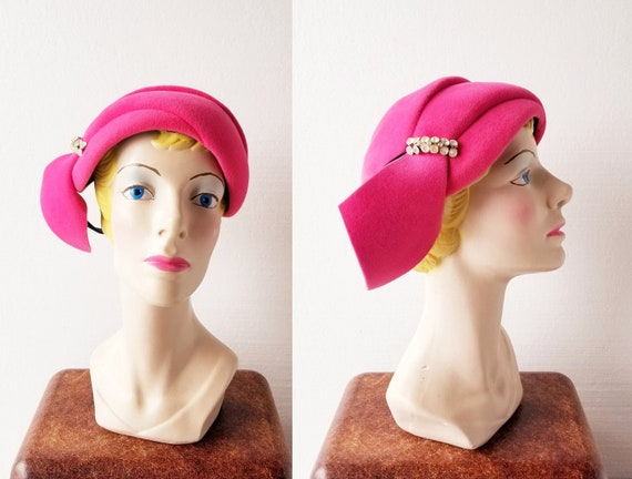 1950s Cocktail Hat | Pink Casque | 50s Hat