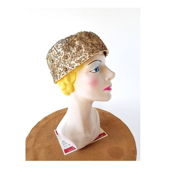 Vintage Pillbox Hat | 1960s Hat | Beaded Hat