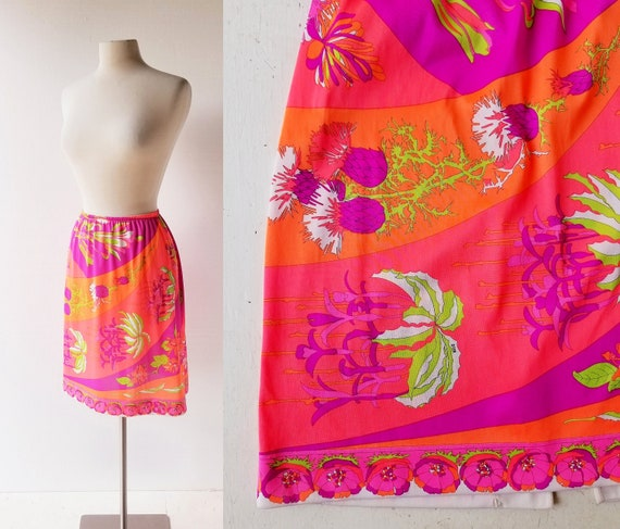 1970s Pucci Slip | Thistle Print | Pucci Skirt | 2