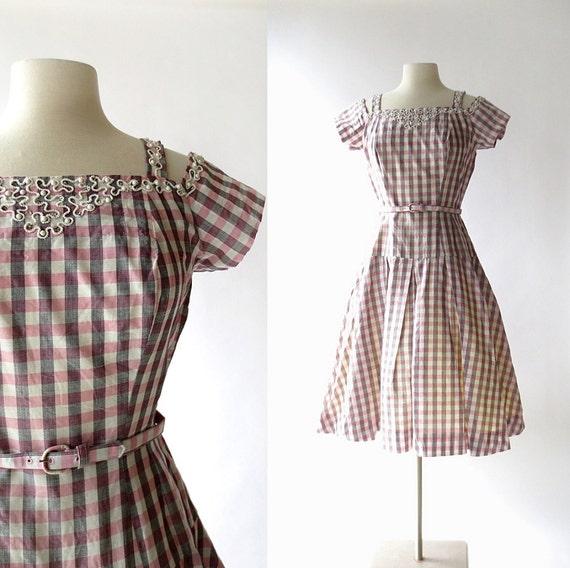 Vintage 50s Dress   Carousel   Pink Gingham Dress