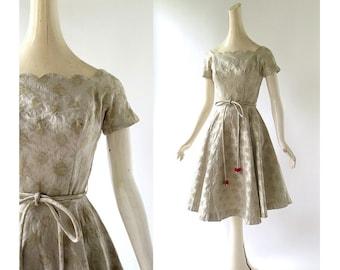 50s Party Dress | Damask Dress | 1950s Dress | XS