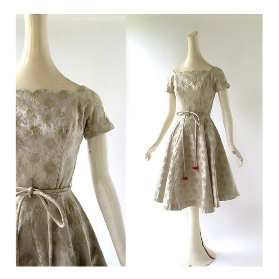 50s Vintage Dress | Gold Party Dress | 1950s Dress
