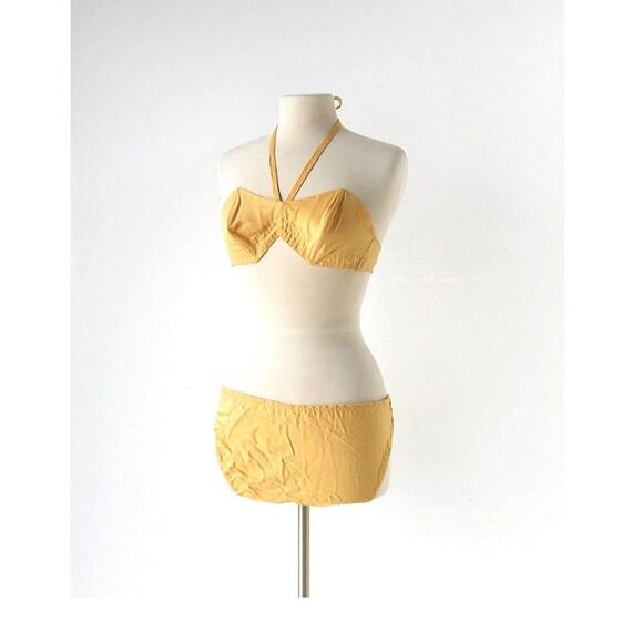 Vintage 1960s Bikini | Yellow Bikini | 60s Swimsui