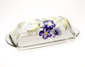Unique Glass  Hand Painted Floral Covered Butter Dish