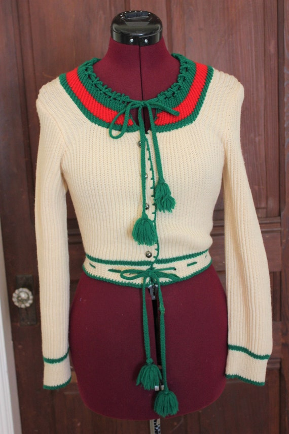70s does 30s Bavarian folk peasant cardigan sweate