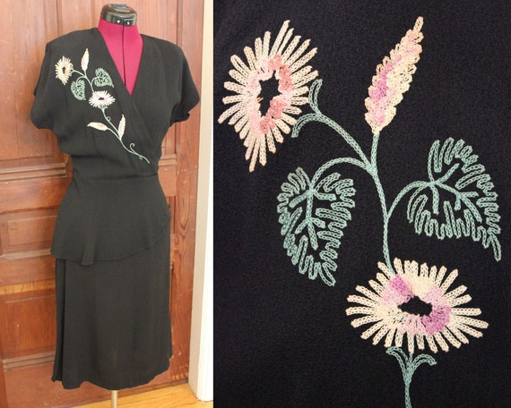 1940s embroidered black cocktail dress Large