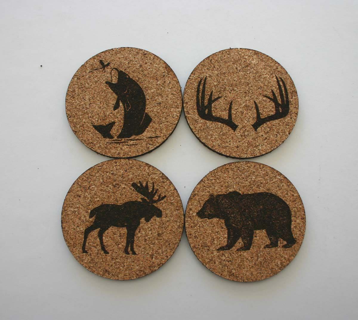 Cork People: Wildlife Cork Coasters Set Of 4 Coasters Etched Cork Bear