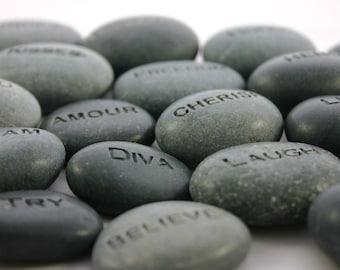 Custom Engraved Stone Worry Stone Pocket Rock Name Stone