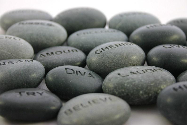 Custom Engraved Stone Worry Stone Pocket Rock Name Stone image 1