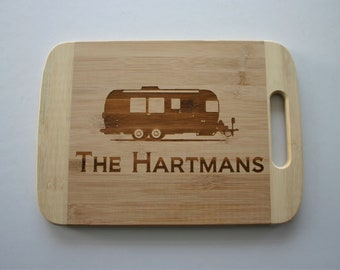 Personalized Air Stream Trailer Engraved Bamboo Cutting Board Camping Gift Airstream RV