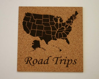 USA Map Cork Etched Cork Map Travel USA Pin Map Road Trip Bulletin Board