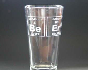 Beer Periodic Table Elements Pint Glass Engraved Pint Glass Etched Beer Gift
